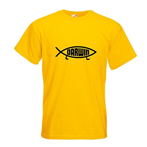 KIWISTAR - Darwin Fisch T-Shirt in 15 verschiedenen Farben - Herren Funshirt bedruckt Design Sprüche Spruch Motive Oberteil Baumwolle Print Größe S M L XL XXL Gelb