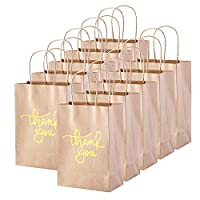 XNX 24 Pack Party Favor Paper Gift Bags Kraft Paper Bags Candy Bags Party Favor Bags with Handle for Birthday, Wedding and Party Celebrations (Gold)