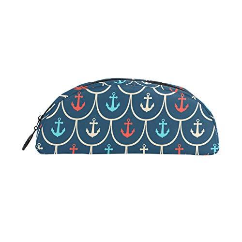 Federmäppchen Halter rot blau weiß nautisches Anker Muster Stifte Schreibwaren Tasche Tasche mit Reißverschluss Make-up für Kinder Mädchen Jungen