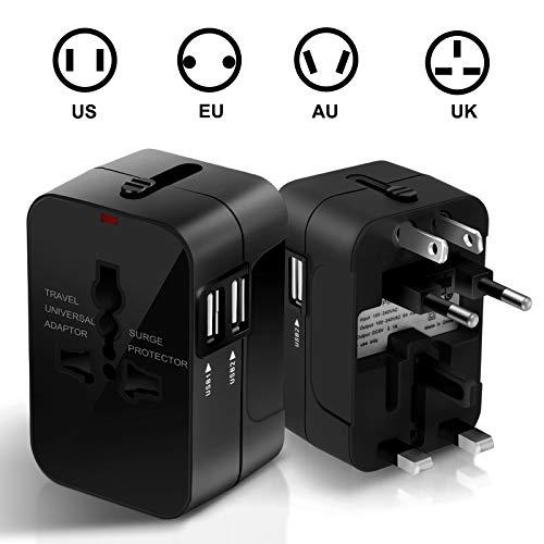 SURWELL Adaptateur de Voyage, Chargeur Convertisseur, Prise Universel avec 2 Ports USB Multifonction pour UK US DE EU CN environ 180 Pays-Noir