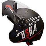 Steelbird SB-45 OSKA Flip Up Helmet with Reflective Graphics (Large 600 MM, Matt Black with Clear Visor)