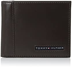Tommy Hilfiger Mens Leather Cambridge Passcase Wallet, Brown,
