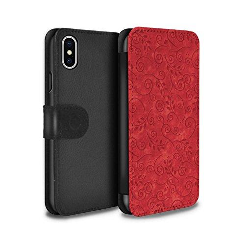 Stuff4 Coque/Etui/Housse Cuir PU Case/Cover pour Apple iPhone X/10 / Turquoise Design / Motif Feuille Remous Collection Rouge