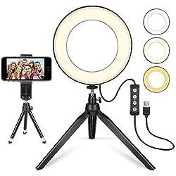 """MACTREM LED Ring Light 6"""" avec trépied pour Selfie/Maquillage Live Stream et vidéo Youtube à intensité Variable avec 3 Modes d'éclairage 11 Niveaux de luminosité"""