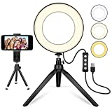 "LED Ring Light 6"" with Tripod Stand for YouTube Video and Makeup, MACTREM Mini LED Camera Light with Cell Phone Holder Desktop LED Lamp with 3 Light Modes & 11 Brightness Level"