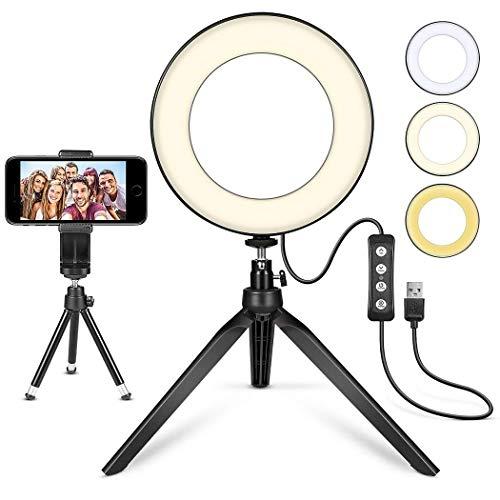 Aro de Luz LED, MACTREM Anillo de Luz Regulable 6' para Fotografía,Ring Light con Trípode y Soporte para Movíl, LED Lámpara para Maquillaje,Selfie, Youtube, Transmisión en Vivo Grabación de vídeo
