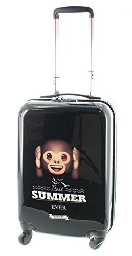 Emoji Smily Hartschalen Koffer, Trolley, Reise Gepäck, Reisekoffer, aus leichtem / robustem ABS / PC, in 3 grössen, auch als Handgepäck (Affe M (55cm) Handgepäck)