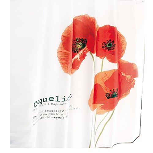 ( Polyester ) 180x200 cm Mohn-Blume wasserabweisend Anti-Schimmel waschbar / Badewannenvorhang Vorhang, hochwertige Qualität mit Ringen Blumen Rot weiß (Blume Vorhang Ringe)
