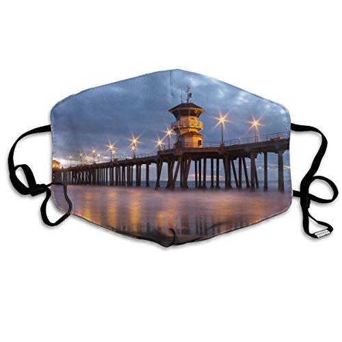 Face Masks Huntington Beach Pier Earloop Mouth Masks - Adjustable Elastic Strap for Travel Skate, Anti Germs Dustproof Face and Nose Cover, Half Face Mouth Mask/Cover