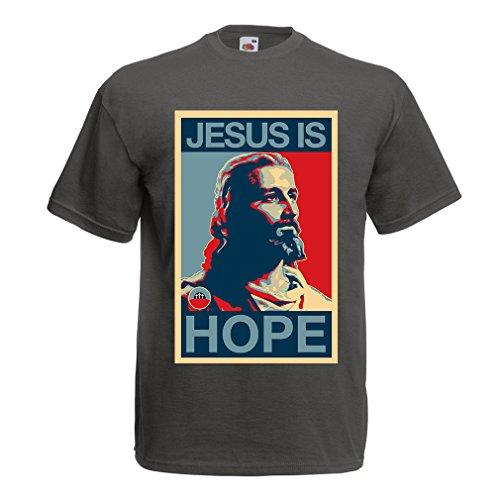 lepni.me Männer T-Shirt Jesus ist Hoffnung! Religion - Auferstehung - christliche Geschenkideen (Medium Graphit Mehrfarben)