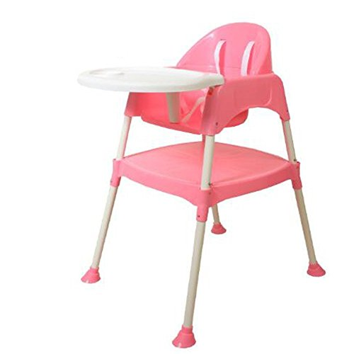 Trexee baby Highchair Portable 3-In-1 Convertible Anti Skid with tray and without Seat Pad (Pink)