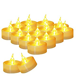 "36 Pack Flameless Battery Operated Tea Lights, Amagic Small Electric Tealight with Amber Yellow Flickering Bulb, LED Plastic Candle for Holiday & Home Decoration, Dia 1.4"" x 1.3"