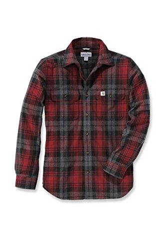 Carhartt T-Shirt mit Knöpfen Hubbard Slim Fit Flannel Shirt Dark Crimson-M
