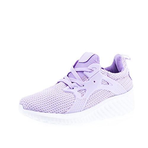 Marimo Trendige Damen Laufschuhe Schnür Sneaker Sport Fitness Turnschuhe Lila 36