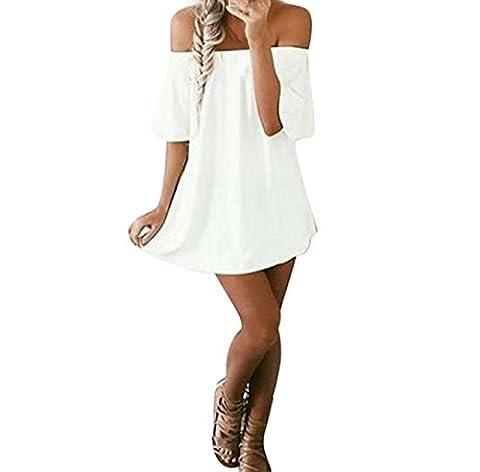 Dress Skirt Longra Women Unique Off Shoulder Collar Short Sleeve T-Shirt Dress ! ! Pure Color , Cotton Blend Comfortable ♥ ♥