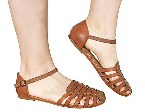 Braun Sandalen Toe Geschlossene Knöchelriemchen Damen Flach Cage Greatonu nqpw6aW0vf