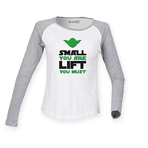 Brand88 - Small You Are, Lift You Must Damen Langarm Baseball T-Shirt Weiss & Grau