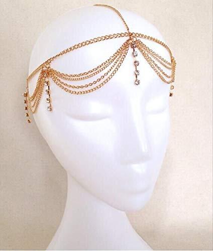 Lurrose Kristall Kopf Kette Stirnband Kopf Kette Schmuck mit Anhänger Haarschmuck für Frauen und Mädchen ()