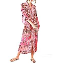 JAGETRADE Chaqueta de Punto de chifón de Vacaciones de Primavera para Mujer Bohemio Retro Rojo Paisley Impreso Floral Traje de baño Cubrir hasta la Mitad de la Pantorrilla Suelta Vestido de Playa