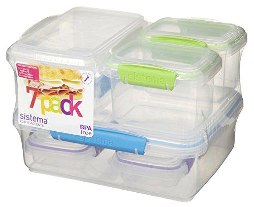 Lagerung Behälter Türkis (Sistema 61765Kunststoff-Frischhaltedosen mit farbigen Akzenten, transparent, 7Stück)