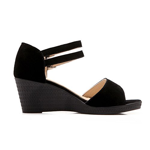 VogueZone009 Donna Puro Pelle Di Mucca Tacco Medio Fibbia Punta Aperta Heeled-Sandals Nero