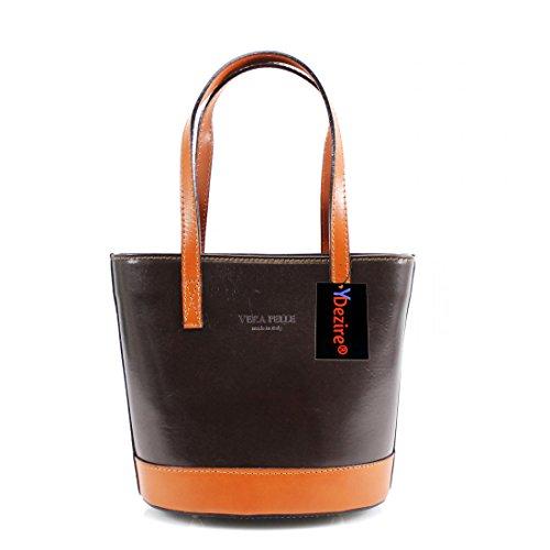 HB Style , Damen Henkeltasche Mehrfarbig beige, Braun (Mulberry Lady-bag)