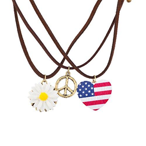 Accesorios Lux de color blanco y azul de la bandera americana de la Paz diseño Floral conjunto collar de gargantilla Hippie de girasol
