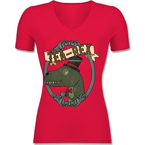 Shirtracer Comic Shirts TeaRex Tailliertes TShirt mit VAusschnitt für  Frauen Rot