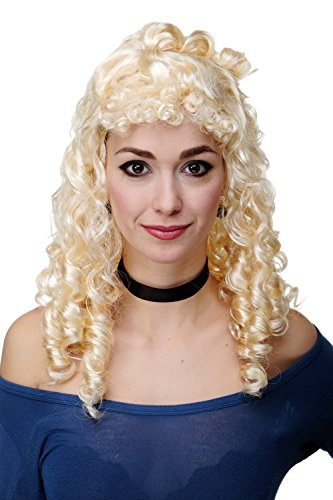 asching Karneval Biedermeier Antike Renaissance Korkenzieherlocken Blond hellblond RJ048-P88 (Blonde Renaissance Perücke Kostüme)
