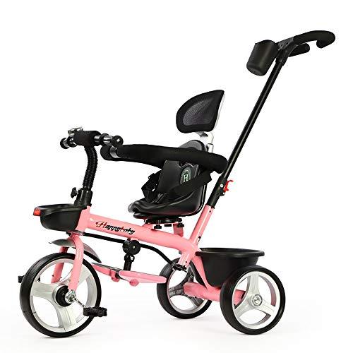 Cpippo Fahrrad Kinder Dreirad ab 1-6 Jahr Kinderwagen 3 in 1 Laufrad ab 2 Jahre Junge mit Verstellbarer Griff und Vorne Silent Shock Absorber Titan Leerlaufrad Kann 50kg Tragen,Pink