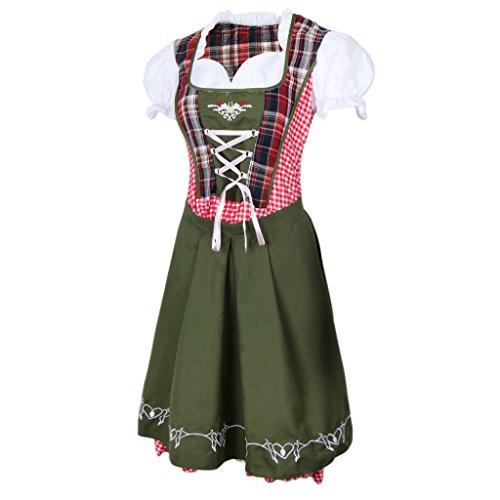 Fenteer Dunkelgrün Damen Dirndl Trachtenkleid mit Schürze für Oktoberfest Fasching Cosplay und Party, 5 Größe - ()