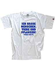 ICH HASSE MENSCHEN, TIERE UND PFLANZEN! STEINE SIND OK. Shirt (T-Shirt oder Kapu echter Siebdruck - kein Billigflex) oder aukleber, schlüsselband, tasse