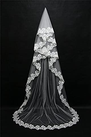 YHKQS-KQS Hochzeit Schleier 3 Meter Europa und die Vereinigten Staaten Mode Damen rot weiß optional Braut Schleier lange verankerte rote Spitze Schleier , white