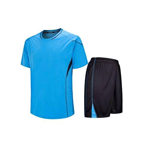Fulision Kurzarm Sport Shirt Männer Schnell Trocknend Jungen Laufen T-Shirts Gym Kleidung Mens Fußball Jerse Set (Fußball-uniformen Kinder Für)