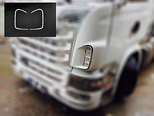 Edelstahl-front Vent (24/7Auto Front Grill Dash Air Vents Frames 2x Edelstahl Dekorationen für Scania R Series 2004-16)