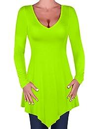 Eyecatch - Everly Damen Übergröße Lose Passen Lange Ärmel T-Shirt Frauen Bluse V-Ausschnitt Tunika Oberteile