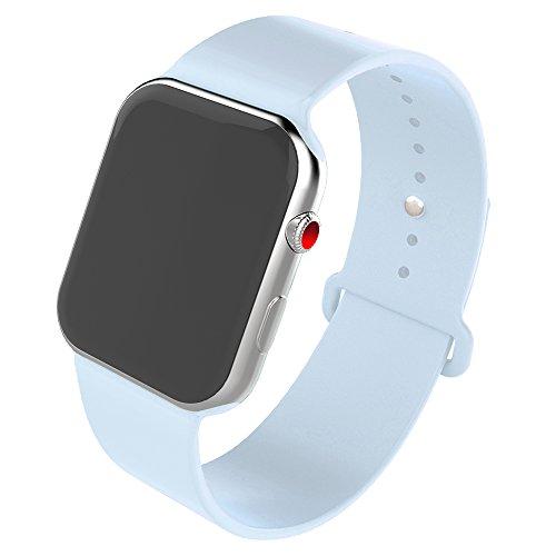 HILIMNY Compatible para Correa Apple Watch 38MM, Suave Silicona Correa Compatible para iWatch Series 3, Series 2, Series 1 (Cielo Azul, 38MM-ML)