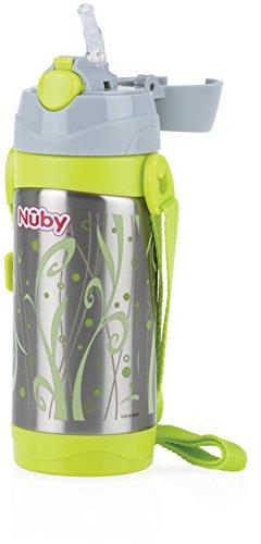 Nuby id10264 borraccia thermos con cannuccia, grigio