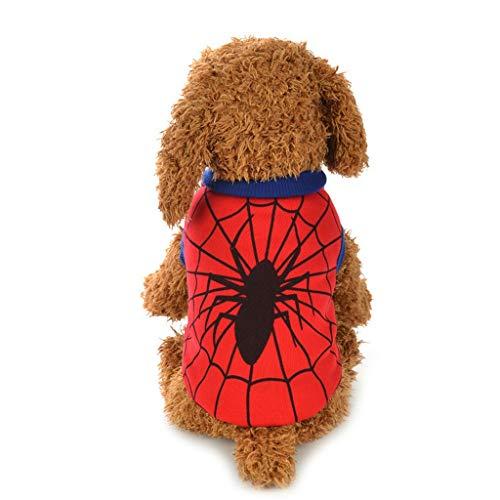 YXRZBH Haustier Hund Kleidung Welpen Haustier Overall Superman & Spiderman Kleidung Pullover für Hunde oder Katzen (Size : 8/XS)