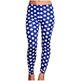"""Riqueza Women's Super Stretchable Blue Polka Dotted High Quality Tights - For 26"""" - 42"""" Inch Waist - All Body Types"""