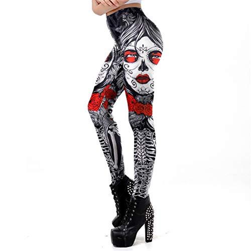 Jianyin Leggins Halloween Zuckerschädel Leggings für Frauen Mädchen Rose Print Fantastische Workout Party Ankle Pant WM-KDK-72015 XL