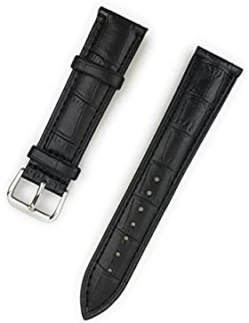 Uhrenarmband aus echtem Leder 20 mm Schwarz Kroko-Optik - 20mm Uhren Armband