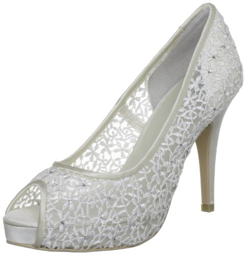 Menbur Wedding Halti, Damen Peep-Toe Pumps, Elfenbein (Ivory), 37 EU