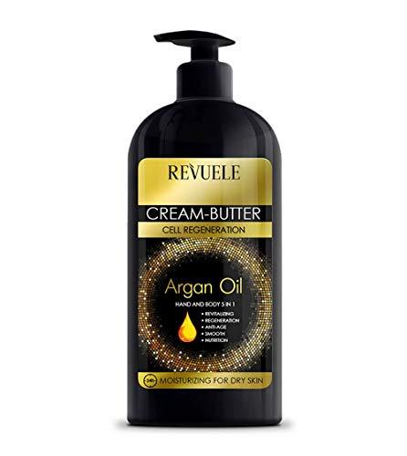 Revuele Crema de mantequilla Aceite de argán Hidratante para regenerar el cuerpo y las manos para todo tipo de pieles Formato grande 400 ml para toda la familia