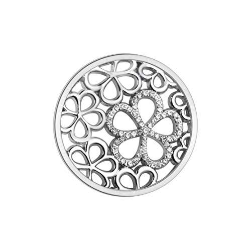 U&D Damen Schmuck Coins 33mm Zirkonia Blume Coin Silber