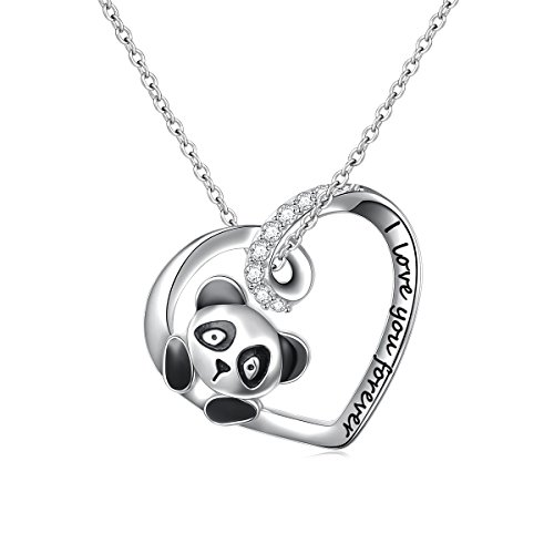 DAOCHONG 925 Sterling Silver Cute Panda Bear Heart Pendant Necklace with Words Engraved, Chain 18 inch Women Girls Graduation Gift Birthday Gift