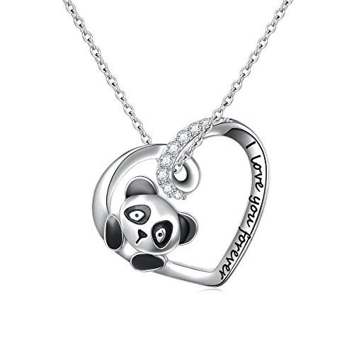 geschenk Sterling Silber süße Panda Halskette Ich Liebe Dich für Immer Bär Tier Herz Frauen Mädchen Anhänger Schmuck ()