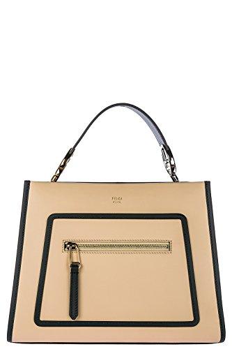 Fendi Leder Handtasche Damen Tasche Bag runaway small beige