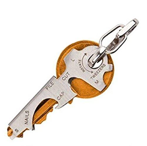 Qingsun Porte-clés Multifonctionnel en Acier Inoxydable Outils Pocket Gadget Décapsuleur