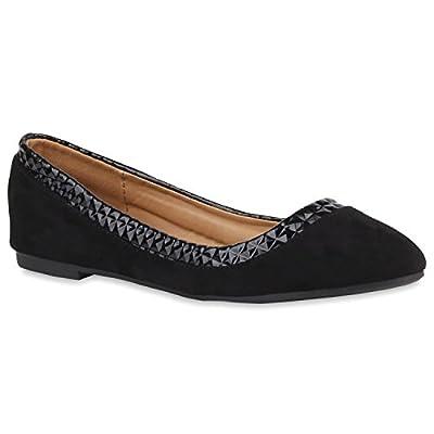 Damen Ballerinas Samtoptik Slipper Lack Flats Schuhe
